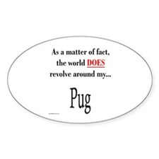 Pug World Oval Decal