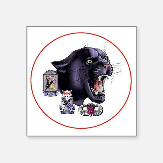 "Panther v2_1st-505th - Whit Square Sticker 3"" x 3"""