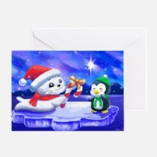 holiday_seal_and_penguin_colver Greeting Card