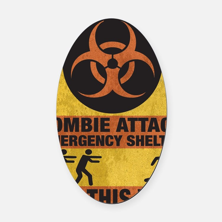Zombie SHERLTER FINALbig3FLAT Oval Car Magnet