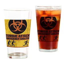 Zombie SHERLTER FINALbig3FLAT Drinking Glass