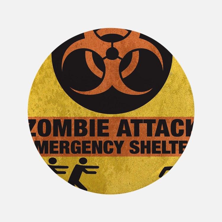 "Zombie SHERLTER FINALbig3FLAT 3.5"" Button"