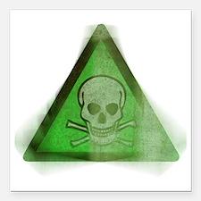 "Grunge Poison symbol Square Car Magnet 3"" x 3"""