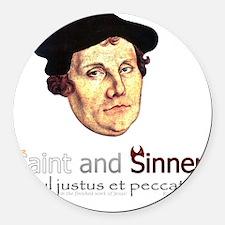 Saint and Sinner Round Car Magnet