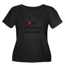 caucasia Women's Plus Size Dark Scoop Neck T-Shirt