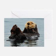 5x3oval_sticker_otter_2 Greeting Card