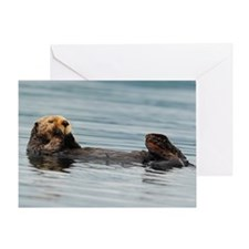 5x3oval_sticker_otter_4 Greeting Card