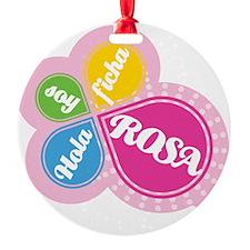 HOLA SOY FICHA ROSA Round Ornament