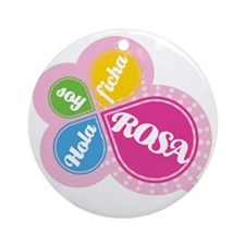 HOLA SOY FICHA ROSA Round Ornament