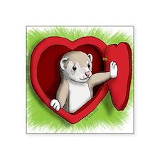 """Valentine Ferret Heart Door Square Sticker 3"""" x 3"""""""
