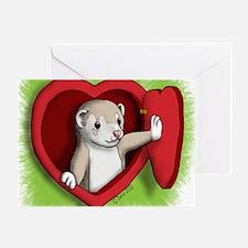 Valentine Ferret Heart Door Greeting Card
