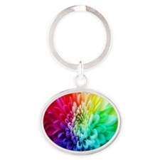 colorful_flowers-1574 Oval Keychain