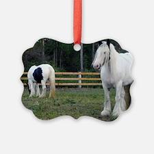 Gypsy Vanner Horses Rose Petal  R Ornament