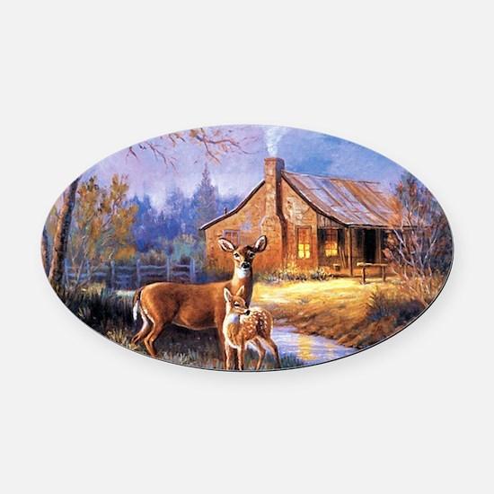 Oh-Deer Oval Car Magnet
