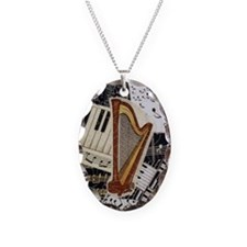 harp-5432 Necklace Oval Charm