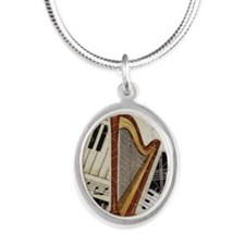 harp-5432 Silver Oval Necklace