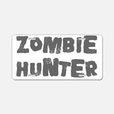 zombie hunter text grey Aluminum License Plate