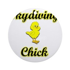Skydiving Chick Round Ornament
