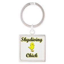 Skydiving Chick Square Keychain