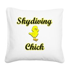 Skydiving Chick Square Canvas Pillow