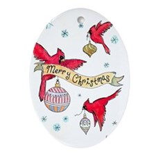 cardinal-front Oval Ornament