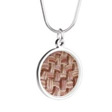 baconweave-square Silver Round Necklace