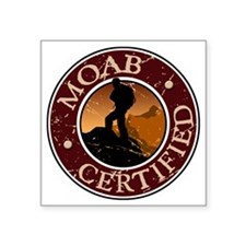"Moab Ceritfied Hiking Square Sticker 3"" x 3"""