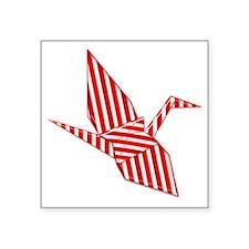 """Crane-CandyCane Square Sticker 3"""" x 3"""""""