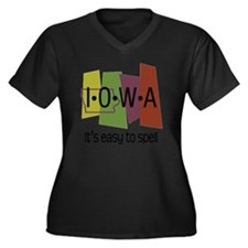 iowa easy to Women's Plus Size Dark V-Neck T-Shirt