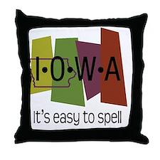 iowa easy to spell Throw Pillow