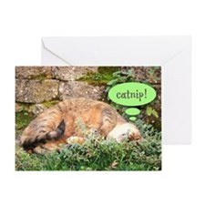 Mona Catnipping Greeting Card
