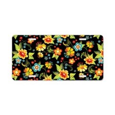 Bag Black Spring Floral Aluminum License Plate