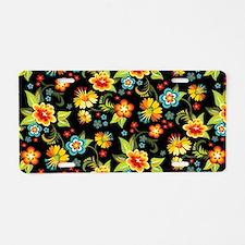 Bag Black Spring Floral Aluminum License Plate