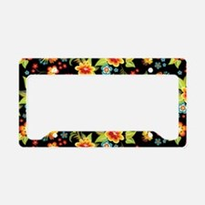 Bag Black Spring Floral License Plate Holder