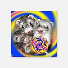 """Ferrets Licking Lollipop Pu Square Sticker 3"""" x 3"""""""