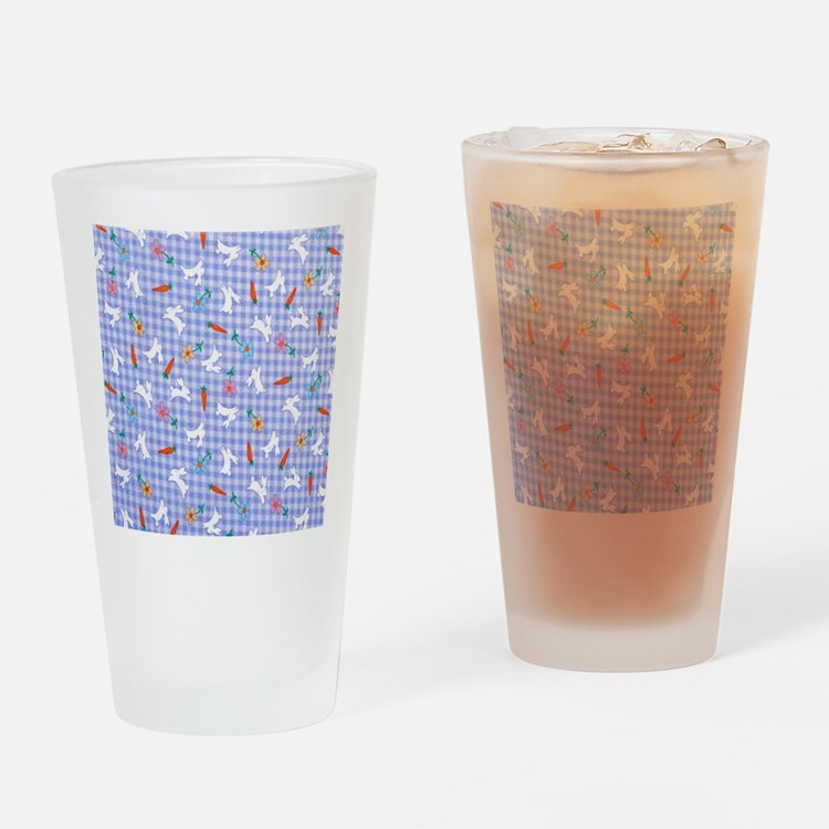 Bunnies On Gingham Drinking Glass