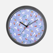 Bunnies On Gingham Wall Clock
