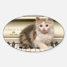 Piano kitty shirt Sticker (Oval)