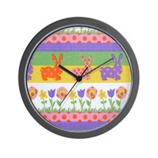 Bunny Flower Wall Clock
