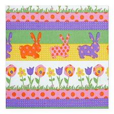 "Bunny Flower Square Car Magnet 3"" x 3"""