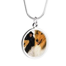 Rough Collie blanket Silver Round Necklace