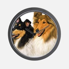 Rough Collie blanket Wall Clock