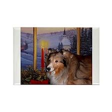 Shetland Sheepdog Sheltie Christmas Rectangle Magn