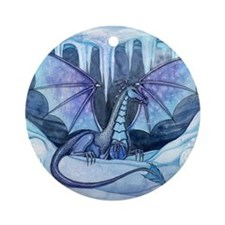 ice dragon square cp Round Ornament