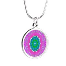 pinklace1 Silver Round Necklace