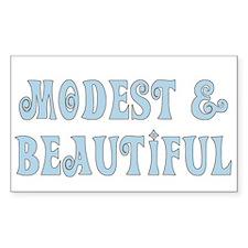 Modest & Beautiful (blue) Rectangle Bumper Stickers