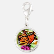 Monarch Butterfly Wall Calenda Silver Round Charm