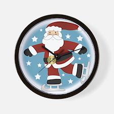 Ice Skating Santa_10x10 Wall Clock