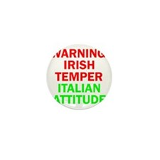 WARNINGIRISHTEMPER ITALIAN ATTITUDE Mini Button