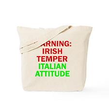 WARNINGIRISHTEMPER ITALIAN ATTITUDE Tote Bag
